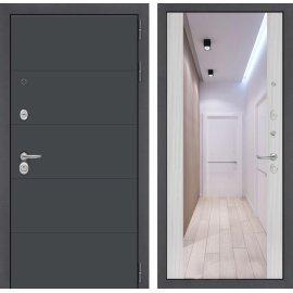 Входная стальная дверь Сенатор ART цвет Сандал белый с ударопрочным зеркалом