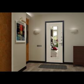 Сенатор Премиум 3к с противоударным Зеркалом цвет Беленый дуб входная стальная металлическая дверь