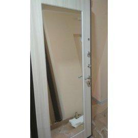 Дверь входная с противоударным зеркалом цвет Сандал белый - Премиум Н
