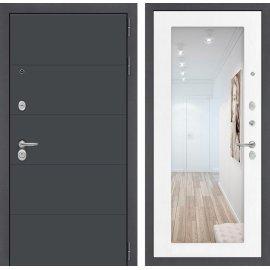 Входная стальная дверь Сенатор ART цвет Белое дерево с ударопрочным зеркалом