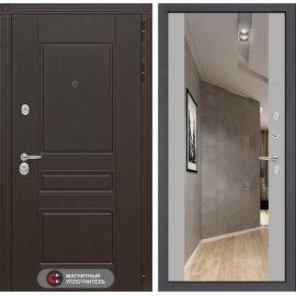 Входная стальная дверь Мегаполис цвет Софт грей с ударопрочным зеркалом