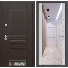 Входная стальная дверь Мегаполис цвет Сандал белый с ударопрочным зеркалом