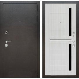 Входная дверь Бордер ФЛ-2 Сандал белый стекло черное