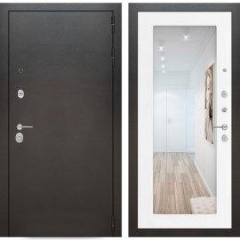 Входная дверь Бордер с ударопрочным Зеркалом Белое дерево