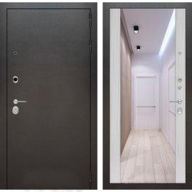 Входная дверь Бордер с ударопрочным Зеркалом Сандал белый