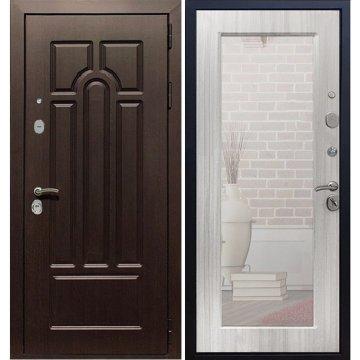 Входная стальная дверь Премиум 5к Пастораль с противоударным Зеркалом цвет Сандал белый