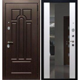 Входная стальная дверь Премиум 5к с противоударным Зеркалом СБ - 16 цвет Белый ясень