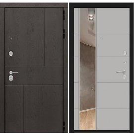 Входная металлическая дверь Сенатор URBAN с ударопрочным зеркалом цвет Грей софт 19