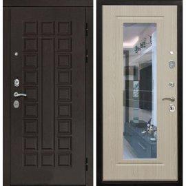 Входная дверь Сенатор с замком CISA 57.966 с ударопрочным Зеркалом Беленый дуб