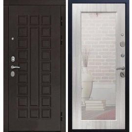 Входная дверь Сенатор с замком CISA 57.966 с ударопрочным Зеркалом Сандал белый