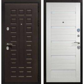 Сенатор Премиум 3к СБ-14 с вставками белое стекло цвет Сандал белый входная стальная металлическая дверь