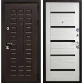 Сенатор Премиум 3к СБ-14 с вставками чёрное стекло цвет Сандал белый входная стальная металлическая дверь