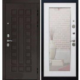 Входная дверь Сенатор с замком CISA 57.966 с ударопрочным Зеркалом Белый Ясень