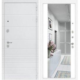 Входная металлическая дверь Сенатор Классика ФЛ-16 с Зеркалом Белый софт