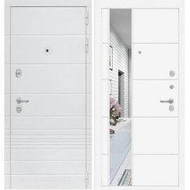 Входная металлическая дверь Сенатор Классика ФЛ-19 Белый софт с Зеркалом