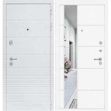 Входная дверь Классика ФЛ-19 Белый софт с Зеркалом