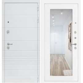 Входная металлическая дверь Сенатор Классика ФЛ-18 с Зеркалом Белое дерево