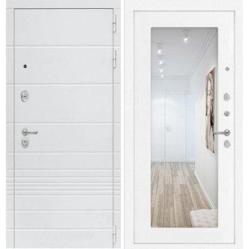 Входная дверь Классика ФЛ-18 с Зеркалом Белое дерево