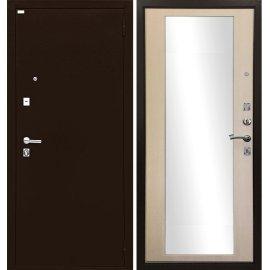 Входная металлическая дверь Сенатор Престиж Форт Люкс с ударопрочным зеркалом Эко дуб