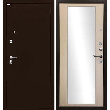 Металлическая дверь Престиж Люкс с зеркалом Эко дуб