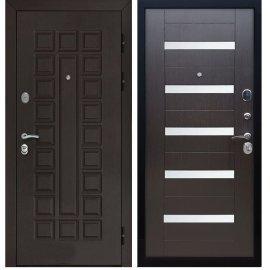 Входная стальная металлическая дверь Йошкар-Ола Senator СБ-14 с вставками белое стекло цвет Венге