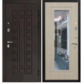 Сенатор с противоударным Зеркалом цвет Беленый дуб входная стальная металлическая дверь