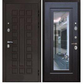 Сенатор с противоударным Зеркалом цвет Венге / Венге входная стальная металлическая дверь