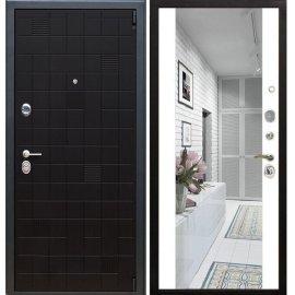 Сенатор Тетрис 3к с противоударным Зеркалом СБ - 16 цвет Белый силк сноу входная стальная металлическая дверь