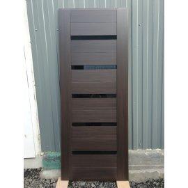 Входная стальная металлическая дверь Йошкар-Ола Senator СБ-14 с вставками чёрное стекло цвет Венге