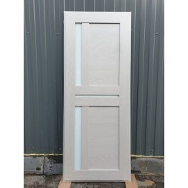 Входная металлическая дверь Йошкар-Ола Senator с вставками белое стекло СБ - 18 цвет Лиственница бежевая