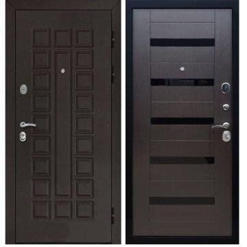 Входная дверь Senator СБ-14 вставки чёрное стекло Венге