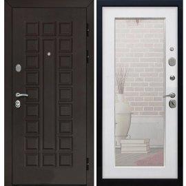 Входная стальная дверь Senator 3к Пастораль цвет Белый Ясень с ударопрочным Зеркалом