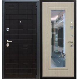 Сенатор Тетрис 3к с противоударным Зеркалом цвет Беленый дуб входная стальная металлическая дверь