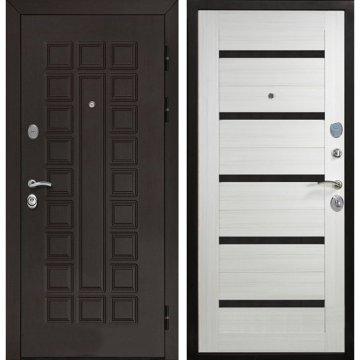 Входная стальная металлическая дверь Йошкар-Ола Senator СБ-14 с вставками чёрное стекло цвет Сандал белый