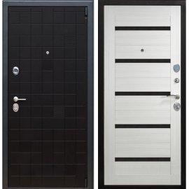 Сенатор Тетрис 3к СБ-14 с вставками чёрное стекло цвет Сандал белый входная стальная металлическая дверь