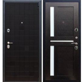 Сенатор Тетрис 3к с вставками Белое стекло СБ - 18 цвет Венге входная стальная металлическая дверь