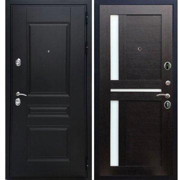 Сенатор Премиум -H с вставками белое стекло СБ - 18 цвет Венге входная стальная металлическая дверь