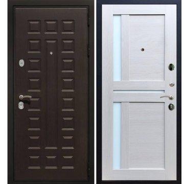Сенатор Премиум 3к с вставками белое стекло СБ - 18 цвет Лиственница бежевая входная стальная металлическая дверь