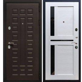 Сенатор Премиум 3к с вставками чёрное стекло СБ - 18 цвет Лиственница бежевая входная стальная металлическая дверь