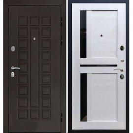 Входная металлическая дверь Йошкар-Ола Senator с вставками чёрное стекло СБ - 18 цвет Лиственница бежевая