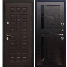Сенатор Премиум 3к с вставками чёрное стекло СБ - 18 цвет Венге входная стальная металлическая дверь
