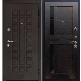 Входная металлическая дверь Йошкар-Ола Senator с вставками чёрное стекло СБ - 18 цвет Венге