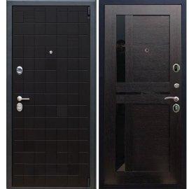 Сенатор Тетрис 3к с вставками чёрное стекло СБ - 18 цвет Венге входная стальная металлическая дверь