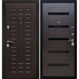 Сенатор Премиум 3к СБ-14 с вставками чёрное стекло цвет Венге / Венге входная стальная металлическая дверь