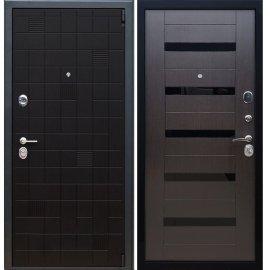 Сенатор Тетрис 3к СБ-14 с вставками чёрное стекло цвет Венге / Венге входная стальная металлическая дверь
