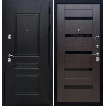 Сенатор Премиум -H СБ-14 с вставками чёрное стекло цвет Венге / Венге входная стальная металлическая дверь