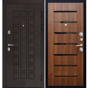 Входная металлическая дверь Йошкар-Ола Senator СБ-14 с вставками чёрное стекло цвет Орех бренди