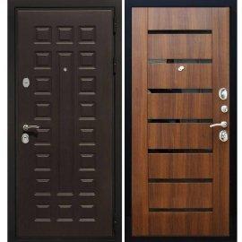 Сенатор Премиум 3к СБ-14 с вставками чёрное стекло цвет Орех бренди входная стальная металлическая дверь