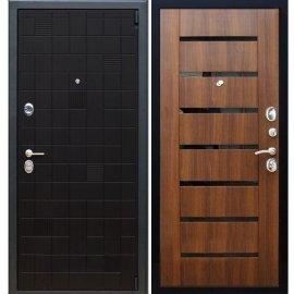 Сенатор Тетрис 3к СБ-14 с вставками чёрное стекло цвет Орех бренди входная стальная металлическая дверь