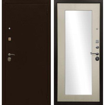Входная металлическая дверь Сенатор Престиж Оптима 3к Лиственница беж с зеркалом